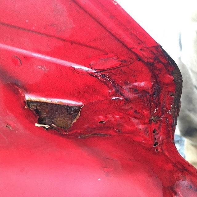 タンクの穴の修理手順-下地処理